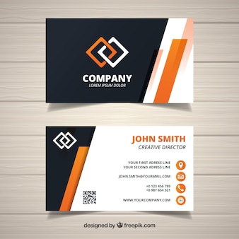 Abstract corporate card with orange details
