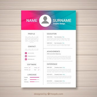 Abstract curriculum template with contemporary style