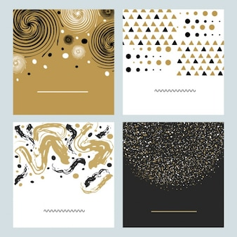 Abstract decorative cards with golden details