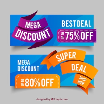 Abstract discount banners