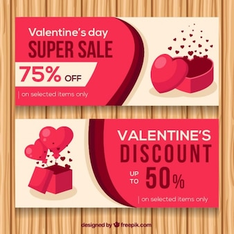 Abstract discount valentine banners