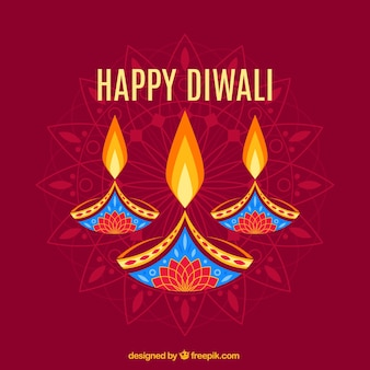 Abstract Diwali background with candles