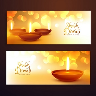 abstract diwali bokeh banners