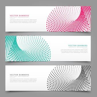 3つの異なる色のハーフトーンバナーデザイン