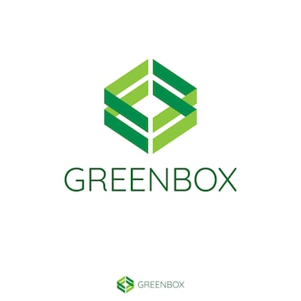 抽象的なダブルグリーンの矢印は、ボックスの形を作る。健康、ビーガン、医療製品またはサービスブランドのフラットスタイルのロゴテンプレート。