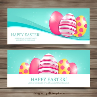 Abstract easter eggs banners