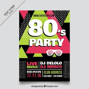 Abstract eighties party flyer