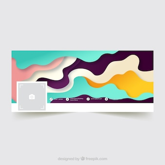 Abstract facebook cover with colorful waves