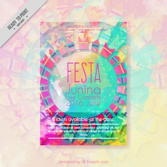 Abstract festa junina invitation in watercolor effect