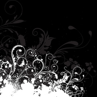 Abstract floral design on a grunge background