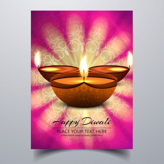 Abstract floral diwali festival greeting card