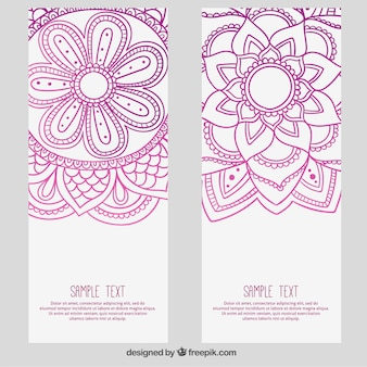 Abstract flowers banners