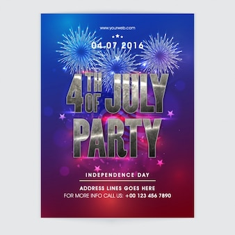 Abstract flyer with fireworks for independence day