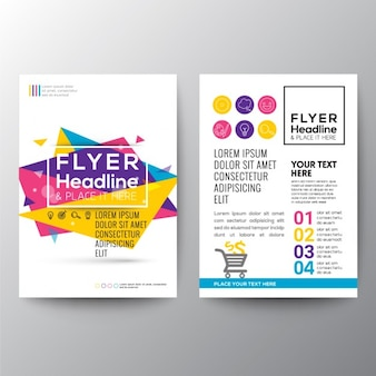 Abstract geometric brochure with triangles in full color