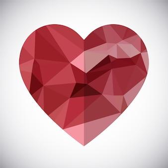 Абстрактный геометрический вектор с низким поливедом. Поздравительная открытка. День Святого Валентина.