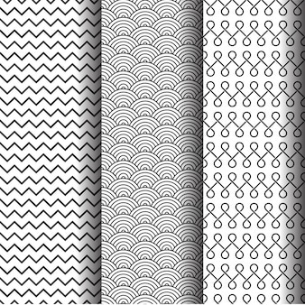 Abstract geometric patterns set, Black and white seamless textures or background.