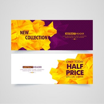 Abstract gift vouchers with geometric shapes