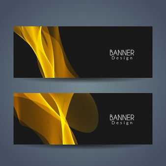 Abstract golden wave banners