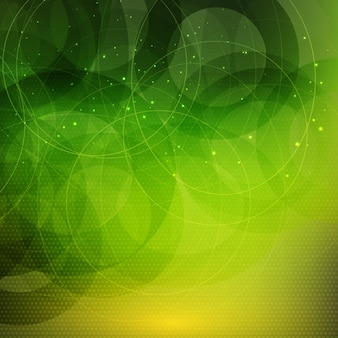 Abstract green background with circles and dots