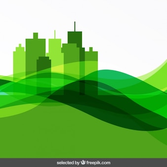Abstract green background with cityscape