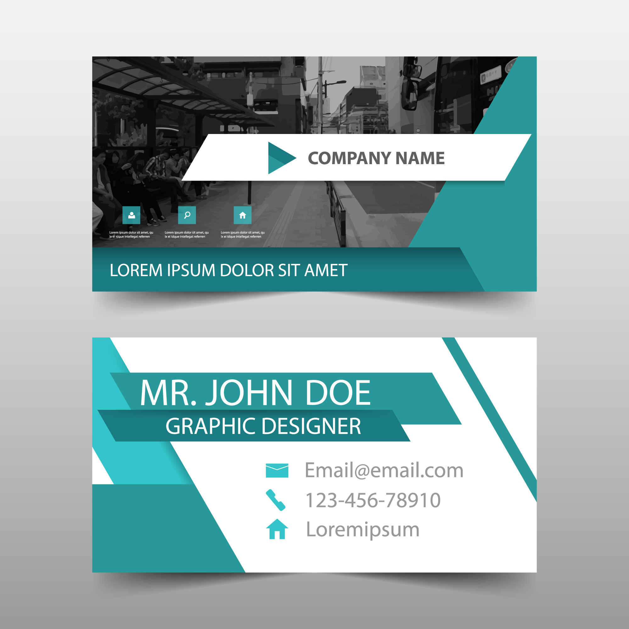Abstract green business card template design
