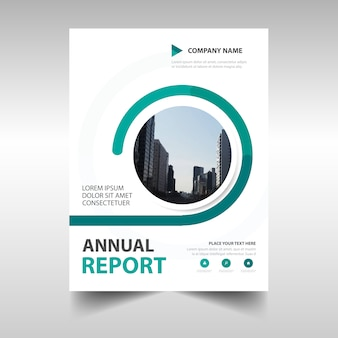 Abstract green circular annual report template