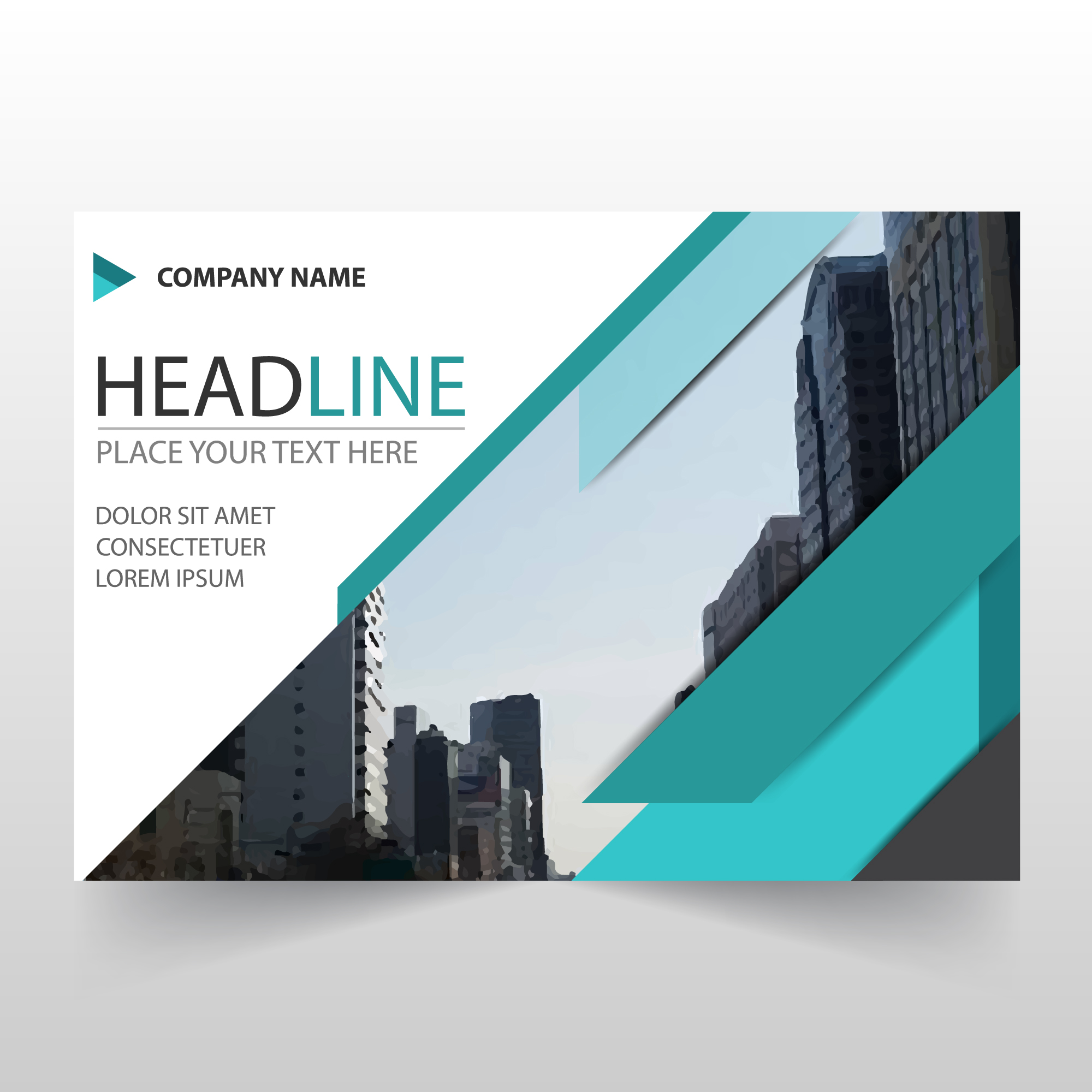 Abstract green horizontal business flyer template