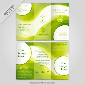 Abstract green trifold with circles