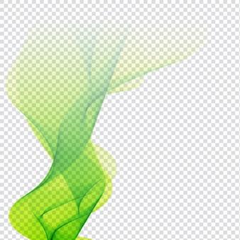 Абстрактный зеленый дизайн волны на прозрачном фоне