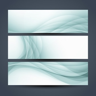 Abstract green waves banners