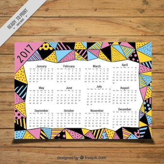 Abstract hand drawn triangles 2017 calendar