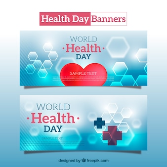 Abstract health day banners