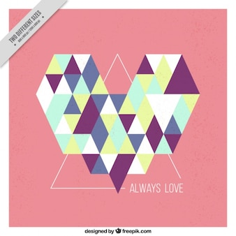 Abstract heart background of triangles