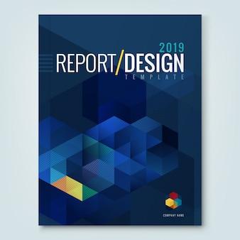 企業のビジネスの年次報告書表紙のパンフレットチラシポスターのための抽象六角キューブパターンの背景デザイン