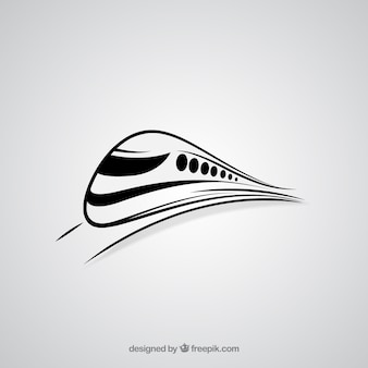 Abstract high speed train logo