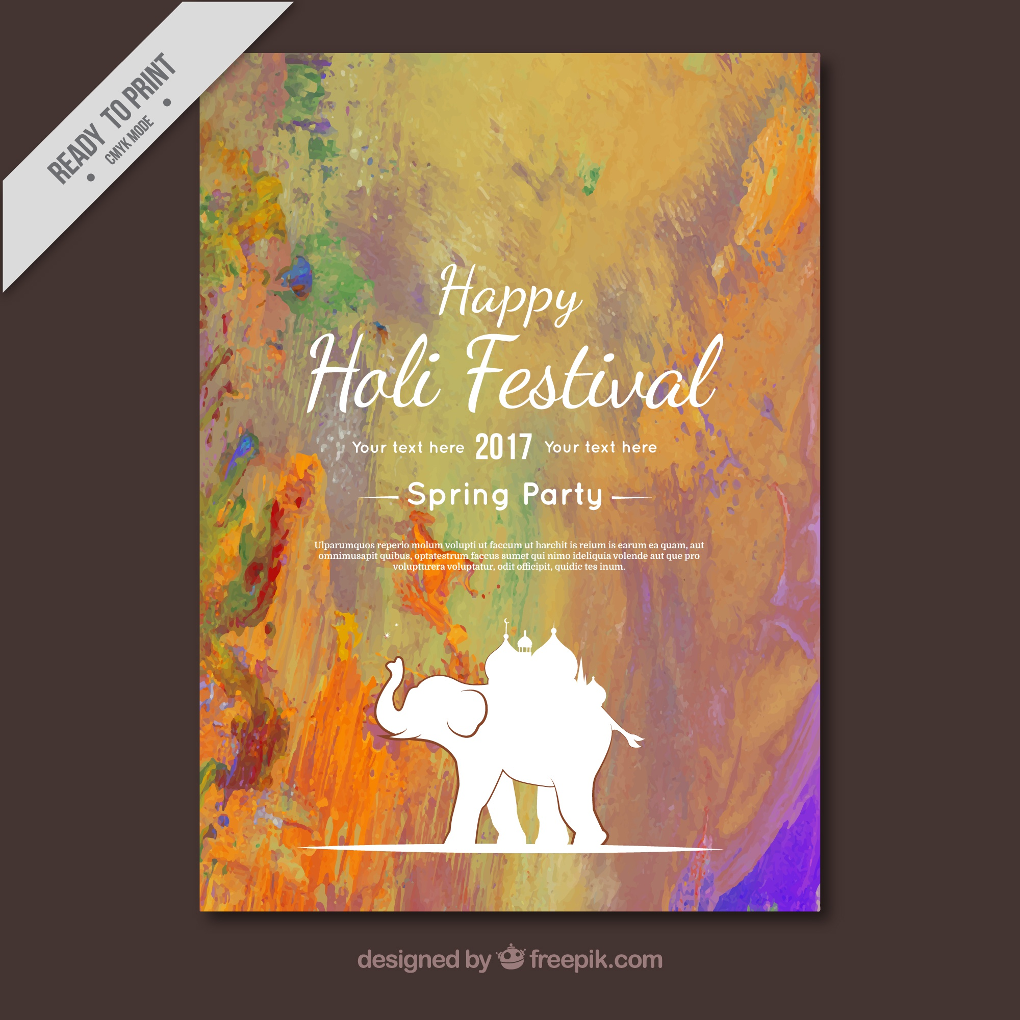 Abstract holi party brochure with elephant silhouette
