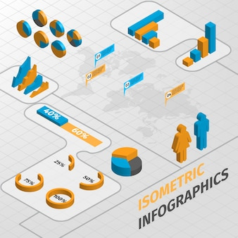 Abstract isometric business infographics design elements charts and graphs vector illustration