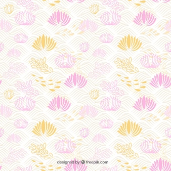 Abstract japanese background with hand drawn flowers
