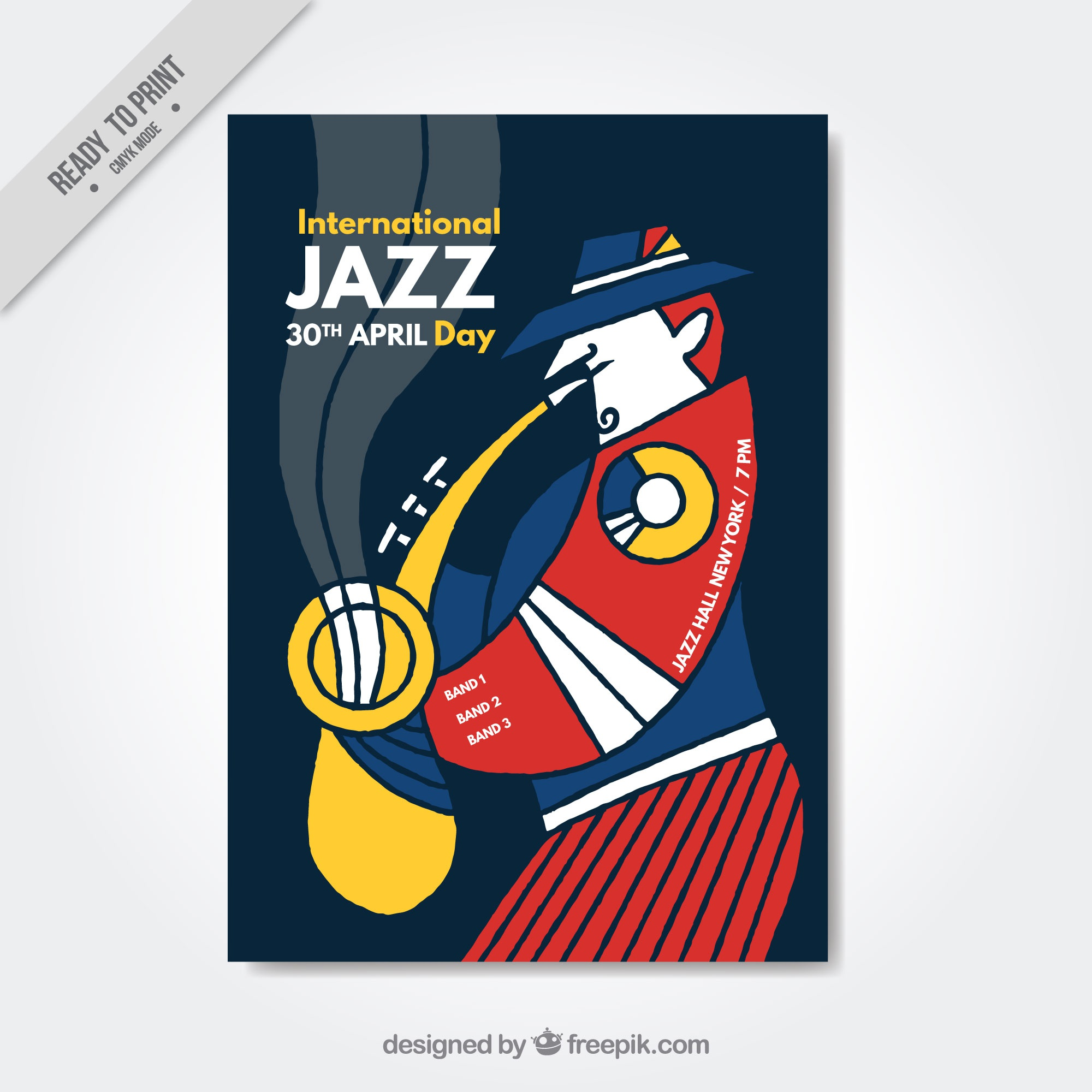abstract jazz brochure with saxophonist