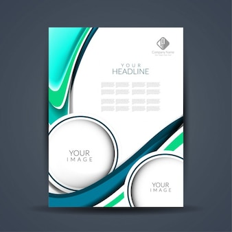 Abstract leaflet with waves and circles
