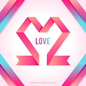 Abstract love background with ribbons