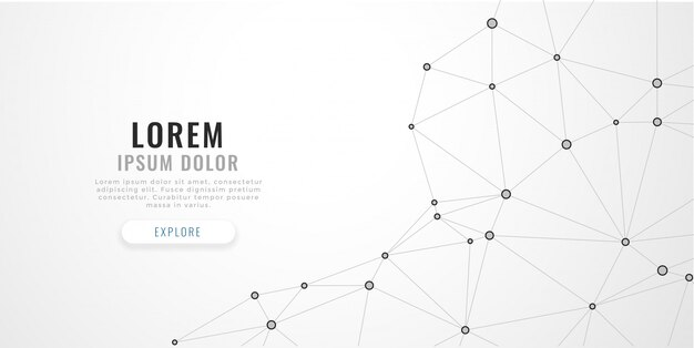 Abstract low poly lines mesh on white background