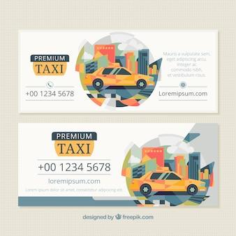 Абстрактные современные баннеры такси