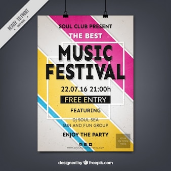 Abstract music festival poster with stripes
