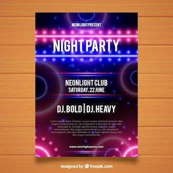 Abstract neon party poster