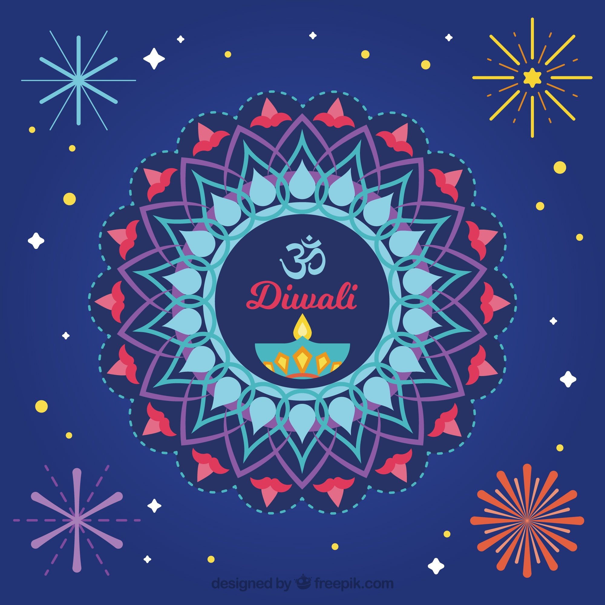 Abstract ornamental background of diwali in flat design
