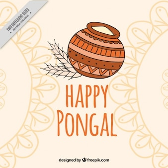 Abstract ornamental background with happy pongal elements