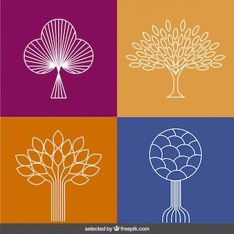 Abstract outlined trees collection