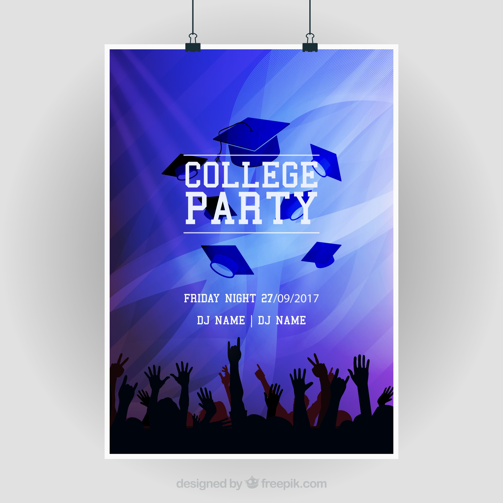 Abstract party brochure with silhouettes and graduation caps