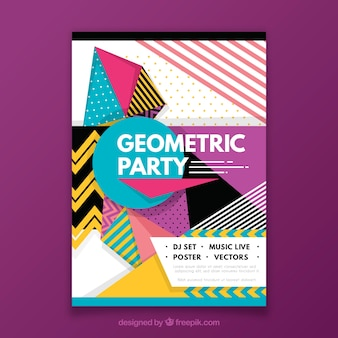 Abstract party poster with geometry